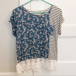 Tiny (Anthropologie) Floral and Striped Shirt